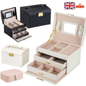 Large Jewellery Boxes Leather Storage Case Drawer Cabinet Necklace Organizer UK