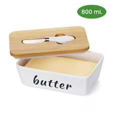Porcelain Butter Dish Box Wooden Lid Deep Storage Tray Ceramic Gift Set Covered