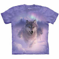 Aurora White Wolves Wolf Pack T Shirt The Mountain NORTHERN LIGHTS Tee S-5XL