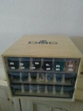 Loaded DMC 3 DRAWER Embroidery Floss & Perle in & Wood Storage CABINET France