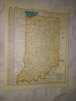 1942 Railroad Map of Indiana With A Railroad Map of Illinois On The Reverse