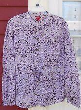 "MERONA Purple Animal Print Long Sleeve Drawstring Tie Waist Shirt XL (45"") EUC"