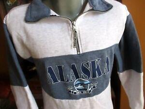 True Vtg 90s ALASKA BLUE/GRAY COLOR BLOCK SWEAT SHIRT PULLOVER USA