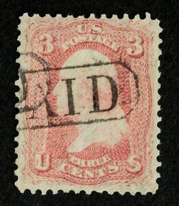 Scott US 65 1861 3¢ Washington, Fancy Used / Enclosed PAID Cancel