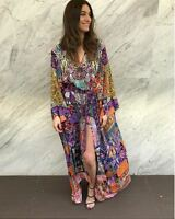 new CAMILLA FRANKS SILK SWAROVSKI PATCH ME UP SPLIT HEM LACE UP KAFTAN DRESS