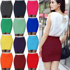 Women Pleated Seamless Stretch Tight Bodycon Mini Skirt Short Pencil Dress