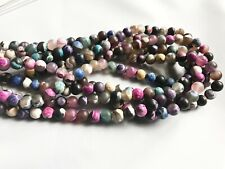 8mm Mixed Colour Frosted Agate Round Beads