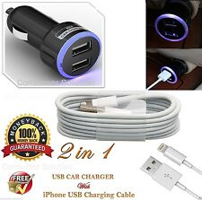 Apple iPhone 7/6/5/5S/5C 8 Pin USB Data Cable USB with Dual USB LED Car Charger