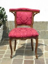 Antique Wooden Chair with Upholstery Damask Red Beginning Xx Century
