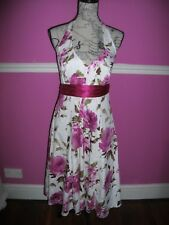DEBUT @ DEBENHAMS PINK WHITE FLORAL HALTER NECK DRESS 14 NETTED UNDERSKIRT
