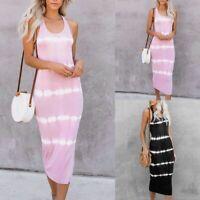 Women Maxi Dress UNeck Sleeveless Long Summer Evening Party Casual Cami Sundress