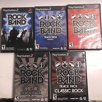 Lot of 5- PS2 Rock Band, And Track Packs Vol 1&2(Sony PlayStation 2) Complete