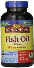 Nature Made Fish Oil Omega 3 EPA DHA Heart Health 200 Softgels Blood pressure
