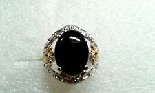 BLACK JADE ION PLATED YG & STAINLESS STEEL SPLIT RING  (SIZE 6) TGW 4.30 CTS