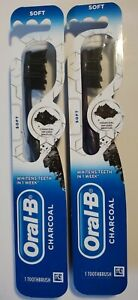 Lot of 2 Oral B Charcoal Whitening Toothbrush Soft Fast Free Shipping