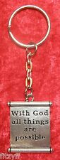 With God all things are possible Scroll Charm Key Ring Religious Hope Keyring