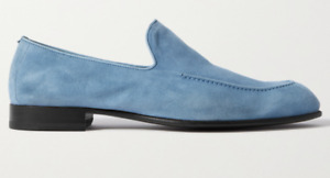 $1100 NEW BRIONI Suede Loafers light blue US 11 UK 10