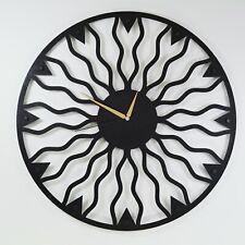 Abstract Metal Wall Art Clock, Modern Wall Clock Metal, Round Wall Clock Black