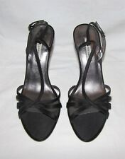"Anne Klein ""Kira AK"" Blk Satin Fabric Strappy High Heel Slingback Sandal 8.5 NEW"