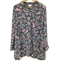 J.Jill Blouse Women XL Petite Black Multi Color Flowy Floral Collared Casual