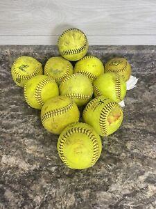 Lot Of 11 Used Yellow Green Fast/Slow Pitch Softballs Mixed Brand Champro Rawlin