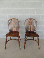 Pair Vintage Windsor Style Hoop Back Side Chairs