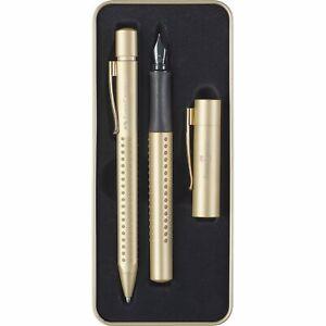 Faber Castell Grip 2011 Gift Tin in Gold - Ballpoint & Fountain Pen NEW 2011625