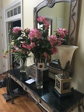 NDI Floral Pink Flower Rhododendron and Magnolia Glass Vase with Acrylic Water