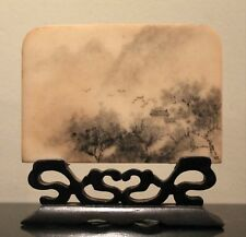 """CHINESE DREAM STONE Hand Painted Screen on Carved Wood Stand, 4"""" Wide"""