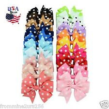 Lot of 20 Boutique Grosgrain Polka-Dot Hair Bows w/Clips Baby Toddler Girls Kids