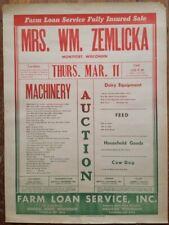 c1965 Mrs William Zemlicka Farm Auction Poster Ad Montfort WI Machinery & Dog