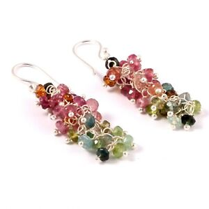 Sterling Silver Unique Natural Multi-color Tourmaline wire Wrapped Beads Earring