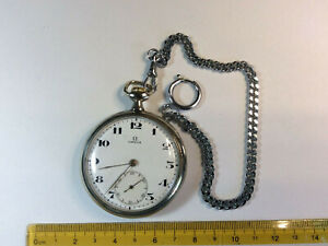 Omega Pocket Watch 20LB Open Face Working With Chain