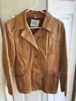 Wilson House Of Leather Brown Leather women's vintage Jacket Coat Size 12
