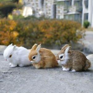 Mini Realistic Cute Plush Rabbit Fur Lifelike Animal Easter Simulation Bunny Toy