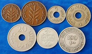 Complete Set of Israel Palestine 1927 British Mandate Coins - Lot of 7 Coins