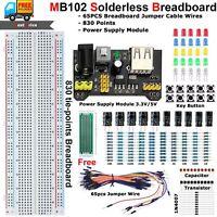 MB102 Solderless Breadboard Protoboard Kit Set Test PCB 830 Tie Point for UNO R3