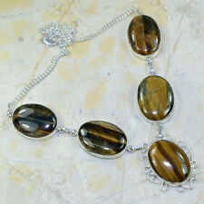 "Golden Tiger's Eye Gemstone 100% Pure 925 Sterling Silver Necklace 20.5"" #X18310"