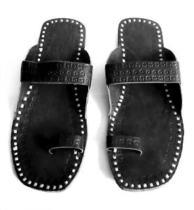 Black leather slippers for womens handmade kolhapuri sandals Indian chappals