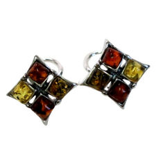 HANDMADE MULTI COLOR NATURAL BALTIC AMBER 925 STERLING SILVER CLIP EARRINGS