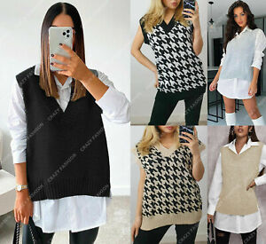 Women Hounds Dogtooth Cable Ladies Knitted V Neck Vest Jumper Sweater Tank Tops