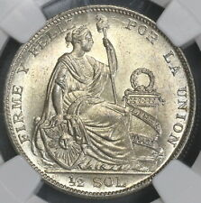 New l 00004000 isting 1929 Ngc Ms 64 Peru Silver 1/2 Sol Coin (17102204C)
