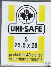 "Prinz Uni-Safe ""S"" Top Opening #25.5x28  Stamp Mounts (Made in Germany) 40 Clear"