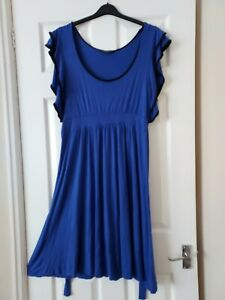 LADIES  PURPLE/BLACK SPANISH STYLE FLARED DRESS SIZE 16 BY DOROTHY PERKINS