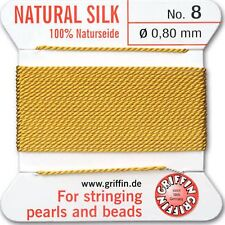 GRIFFIN Carded Silk Beading Cord Size 8 Amber