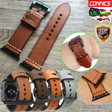 US Mens Genuine Leather Wrist iWatch Band Strap For Apple Watch Series 4 44/40MM