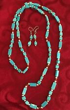 """Faux Blue Turquoise and  Beaded Necklace & Earrings Set -19"""""""