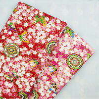 1.4M Japanese Cotton Fabric Sakura Cherry Blossom Kimono Floral Sewing Craft DIY