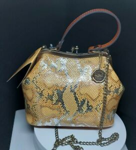 Patricia Nash Laureana Metallic Python Frame Satchel Leather Handbag Crossbody