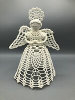 """Vintage Hard Crocheted Angel Wings Halo Tree Topper Ornament Tabletop 10"""" Tall"""